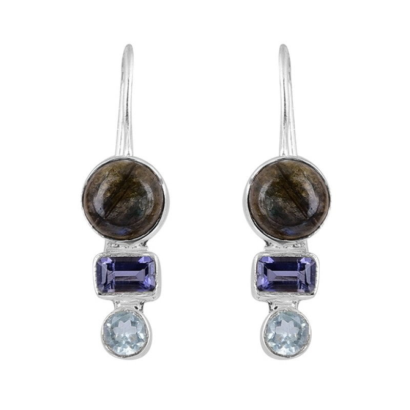 Labradorite Amethyst Blue Topaz Gemstone 925 Sterling Silver Earrings