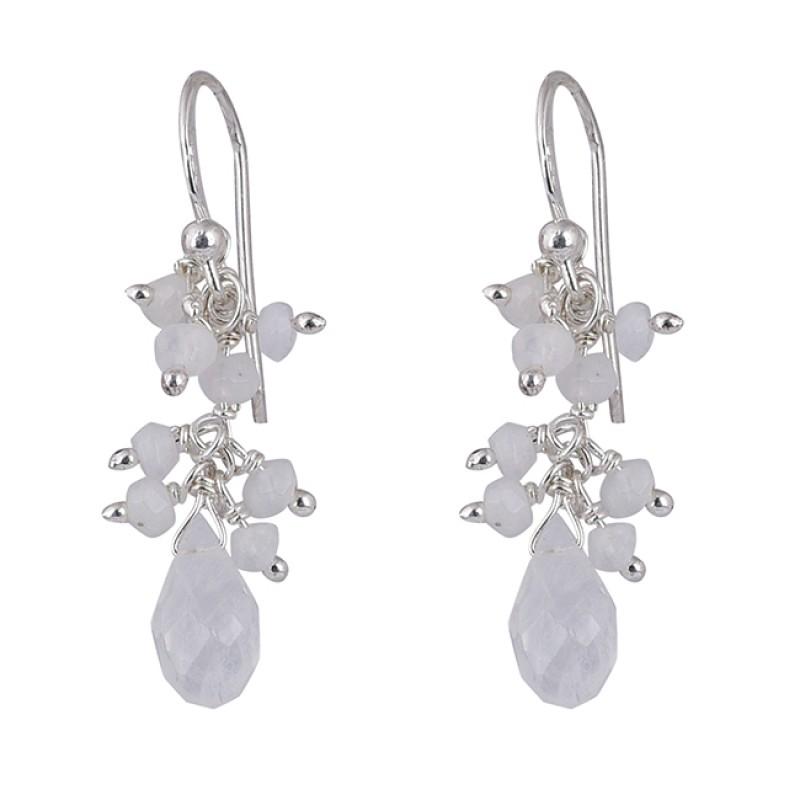 Pear Drops Roundel Beads Shape Moonstone 925 Sterling Silver Earrings