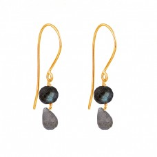 Round Pear Shape Labradorite Gemstone 925 Sterling Silver Dangle Earrings
