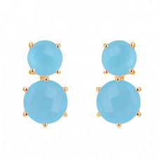 Round Shape Aqua Chalcedony Gemstone 925 Sterling Silver Stud Earrings