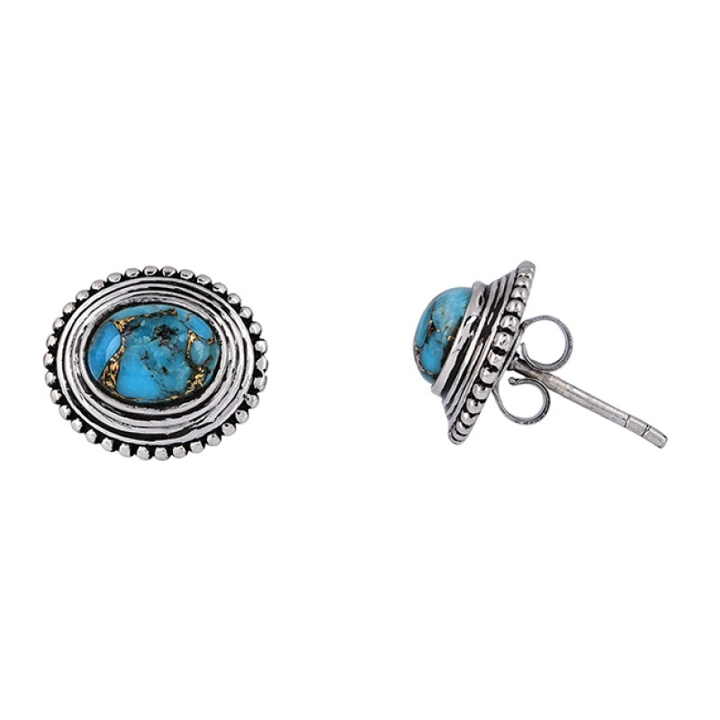 Oval Cabochon Turquoise Gemstone 925 Sterling Silver Black Oxidized Earrings