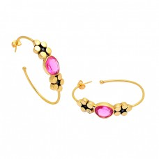 Pink Quartz Oval Shape Gemstone 925 Sterling Silver Gold Plated Hoop Earrings
