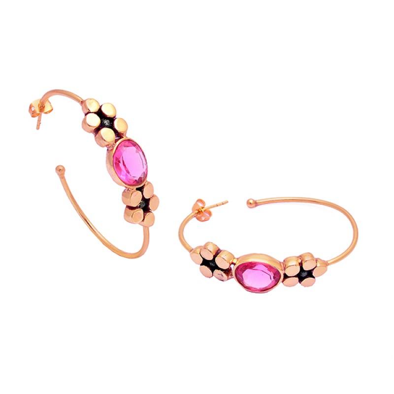 Pink Quartz Oval Shape Gemstone 925 Sterling Silver Gold Plated Hoop Earrings