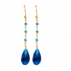 Dangling Blue Quartz Pear Drops Roundel Beads Gemstone Gold Plated Handmade Earrings