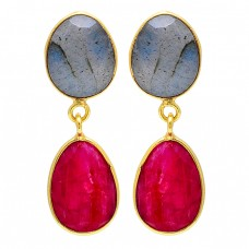 Ruby Labradorite Oval Shape Gemstone 925 Sterling Silver Gold Plated Earrings