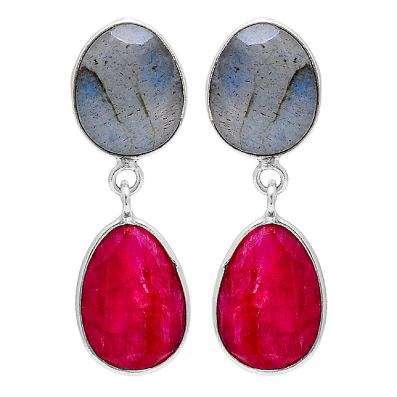 Ruby Labradorite Oval Shape Gemstone 925 Sterling Silver Gold Plated Earrings