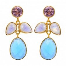 Amethyst Moonstone Chalcedony 925 Sterling Silver Gold Plated Stud Earrings