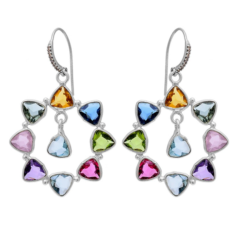 Triangle Shape Multi Color Gemstone 925 Sterling Silver Gold Plated Earrings
