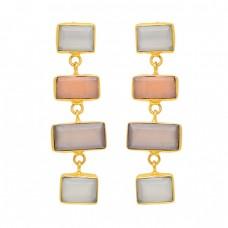 Rectangle Shape Moonstone 925 Sterling Silver Gold Plated Stud Dangle Earrings