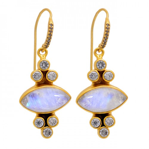 925 Sterling Silver Rainbow Moonstone Cz Gold Plated Dangle Earrings