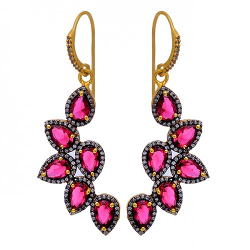 Pave Cz Tourmaline Gemstone 925 Sterling Silver Gold Plated Dangle Earrings
