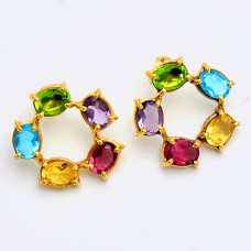 Oval Shape Multi Color Gemstone 925 Sterling Silver Gold Plated Stud Earrings