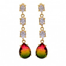 Tourmaline Doublet Quartz Cz Gemstone 925 Sterling Silver Gold Plated Earrings