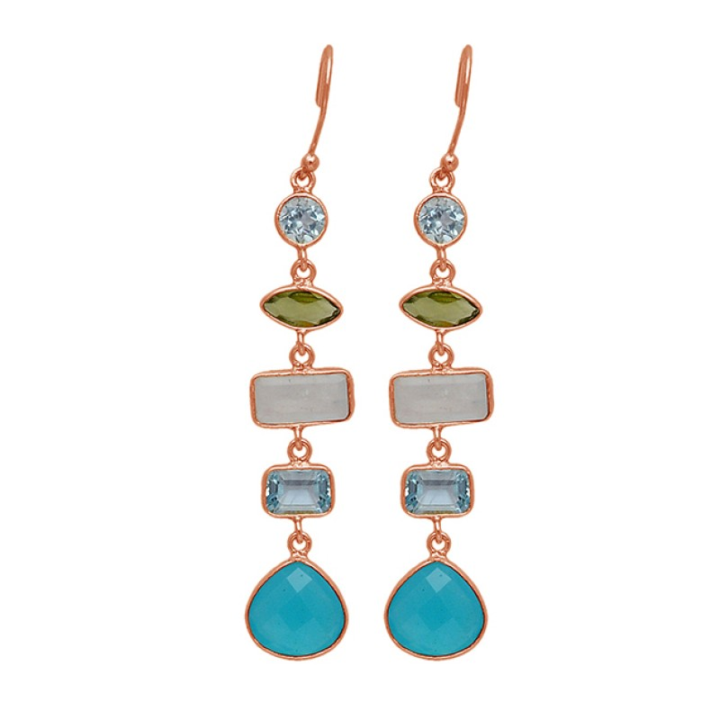 Heart Shape Rectangle Marquise Round Shape Gemstone 925 Sterling Silver Gold Plated Dangle Earrings