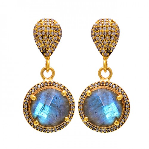 Labradorite Pave Cz Gemstone 925 Sterling Silver Gold Plated Stud Dangle Earrings