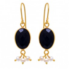 Black Onyx Pearl Gemstone 925 Sterling Silver Gold Plated Dangle Earrings
