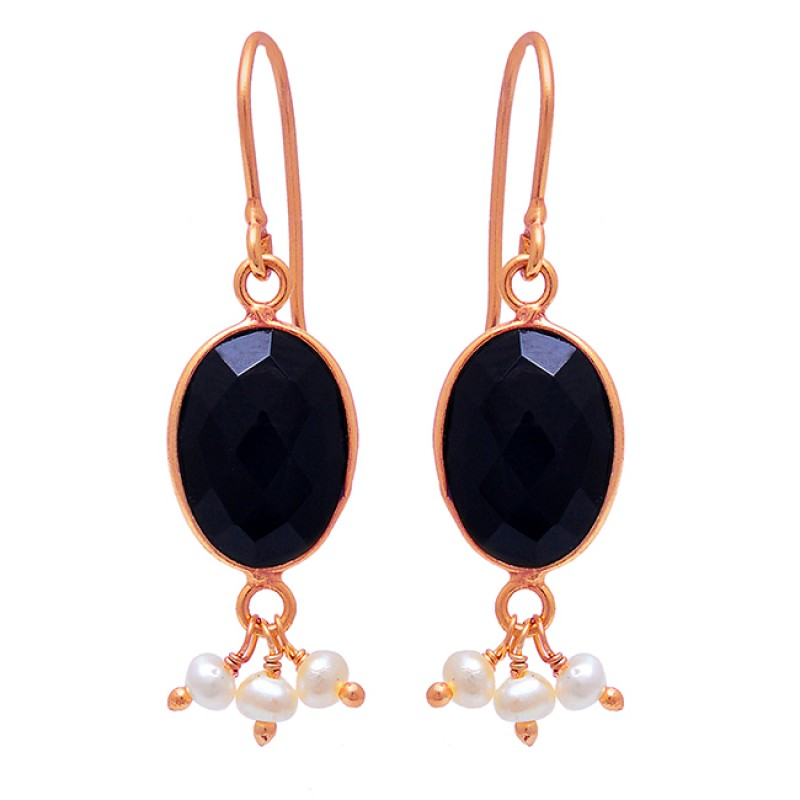 Black Onyx Pearl Gemstone 925 Sterling Silver Gold Plated Dangle Earrings