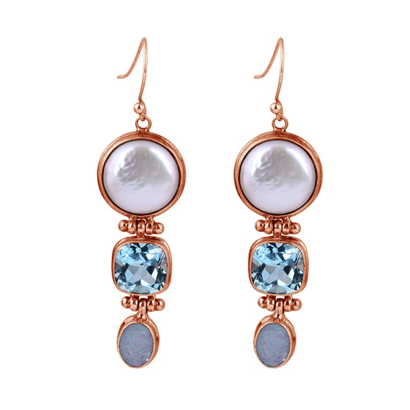 Pearl Blue Topaz Moonstone 925 Sterling Silver Handmade Dangle Earrings