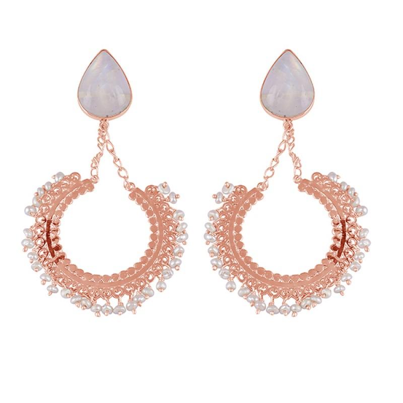 Rainbow Moonstone Pearl Gemstone 925 Sterling Silver Stud Dangle Earrings