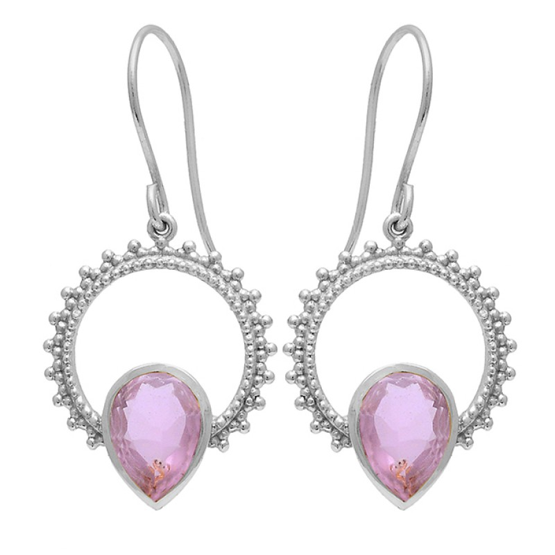 Pear Shape Pink Quartz Gemstone 925 Sterling Silver Gold Plated Dangle Earrings