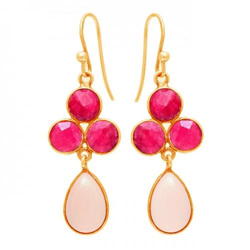 Pear Round Shape Ruby Chalcedony Gemstone 925 Sterling Silver Dangle Earrings