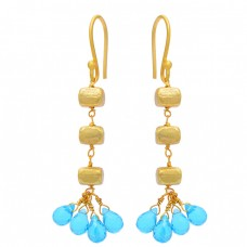 Pear Drops Shape Blue Topaz Gemstone 925 Sterling Silver Gold Plated Earrings
