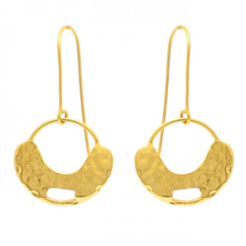 925 Sterling Silver Plain Hammered Designer Gold Plated Dangle Earrings