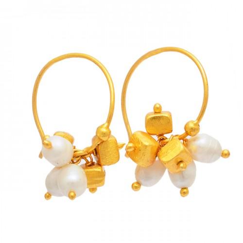 Pearl Oval Shape Gemstone 925 Sterling Silver Gold Plated Hoop Earrings