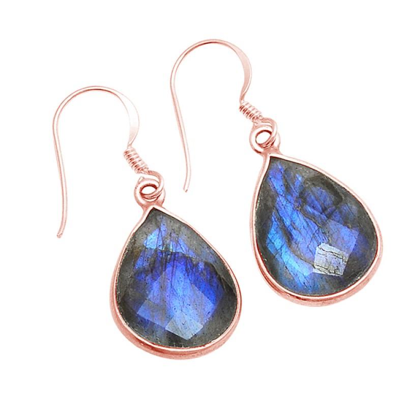 Pear Shape Labradorite Gemstone 925 Sterling Silver Bezel Setting Dangle Earrings