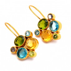 Citrine Peridot Amethyst Blue Topaz Gemstone 925 Sterling Silver Gold Plated Fixed Ear Wire Earrings