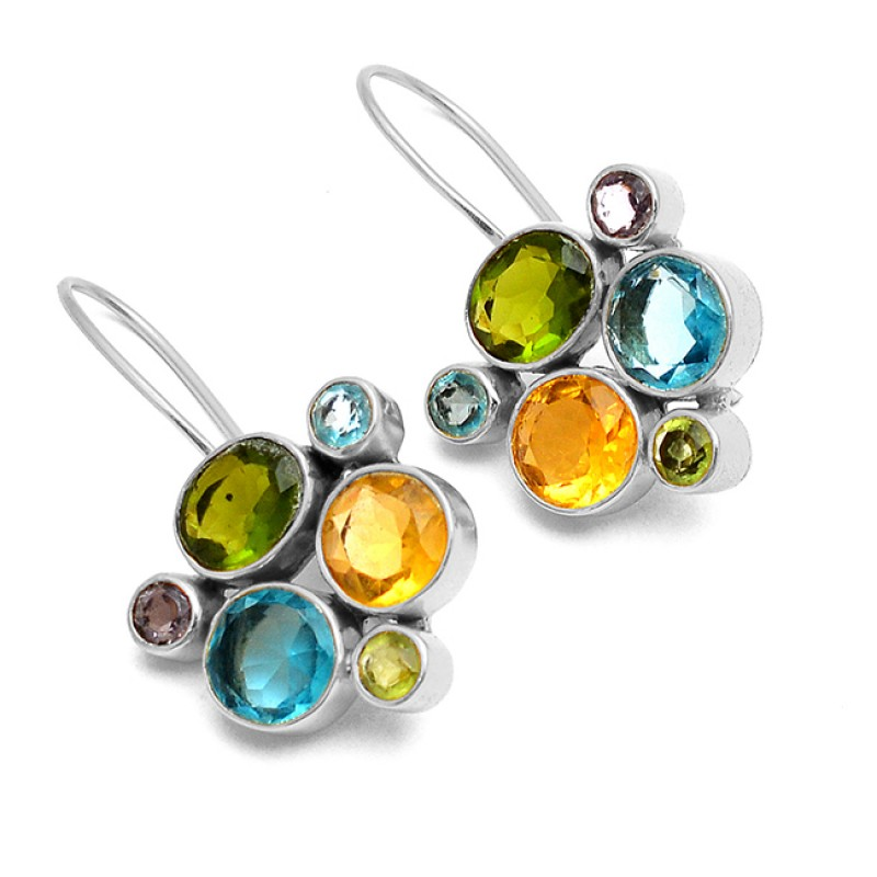Citrine Peridot Amethyst Blue Topaz Gemstone 925 Sterling Silver Gold Plated Fixed Ear Wire Earrings