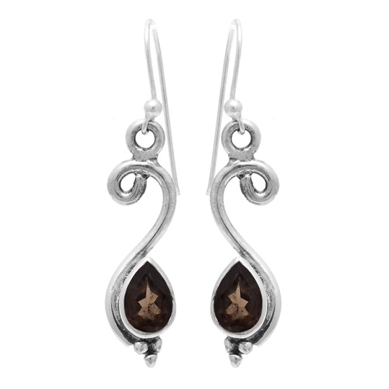Pear Shape Smoky Quartz Gemstone 925 Sterling Silver Designer Dangle Earrings