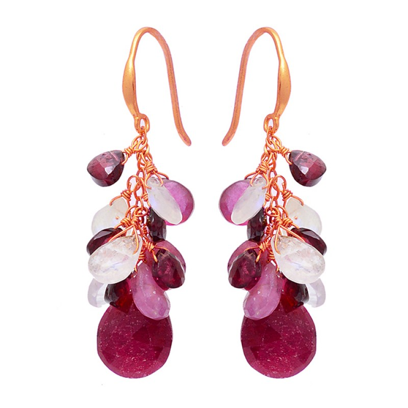 Pear Drops Shape Mulit Color Gemstone 925 Sterling Silver Gold Plated Earrings