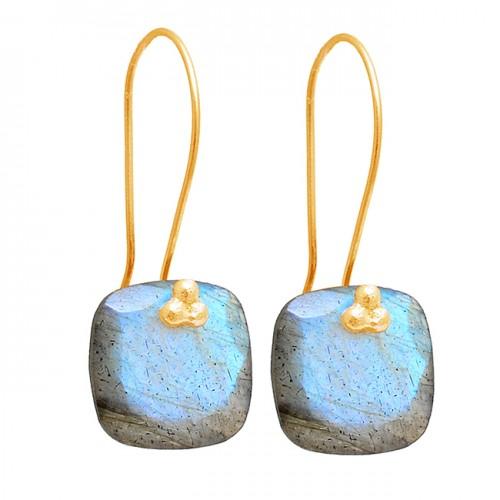 Cushion Shape Labradorite Gemstone 925 Sterling Silver Fixed Ear Wire Earrings