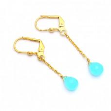 Pear Drops Shape Aqua Chalcedony Gemstone 925 Silver Gold Plated Earrings