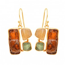 Hessonite Citrine Green Amethyst Rough Gemstone 925 Sterling Silver Earrings