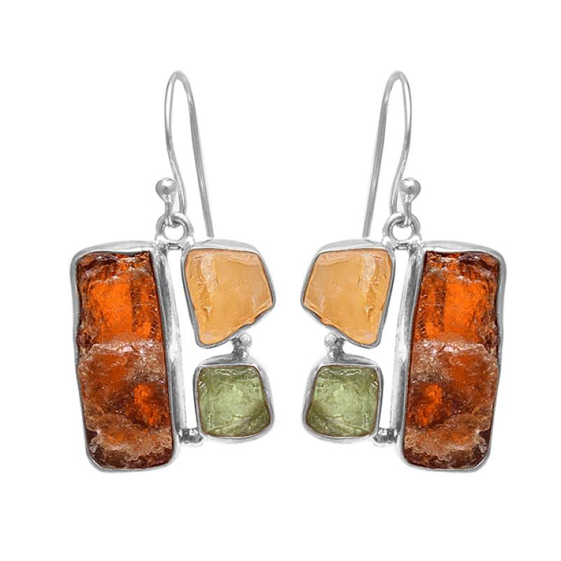 Hessonite Citrine Green Amethyst Rough Gemstone 925 Sterling Silver Earrings