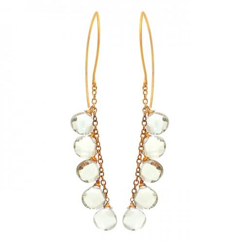 Heart Shape Green Amethyst Gemstone 925 Sterling Silver Gold Plated Earrings