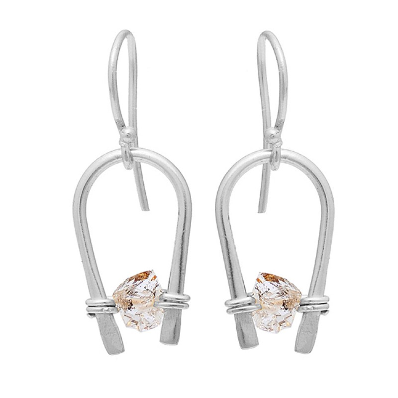 Herkimer Diamond Rough Gemstone 925 Sterling Silver Gold Plated Earrings