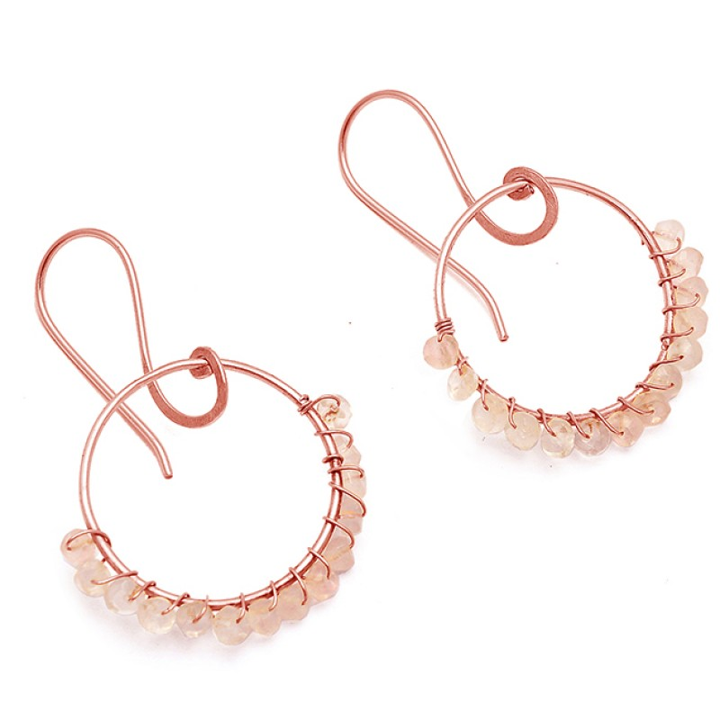 Dangle Earrings Rose Quartz Gemstone 925 Sterling Silver Gold Plated Jewelry