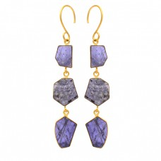 Slice Shape Iolite Gemstone 925 Sterling Silver Gold Plated Dangle Earrings