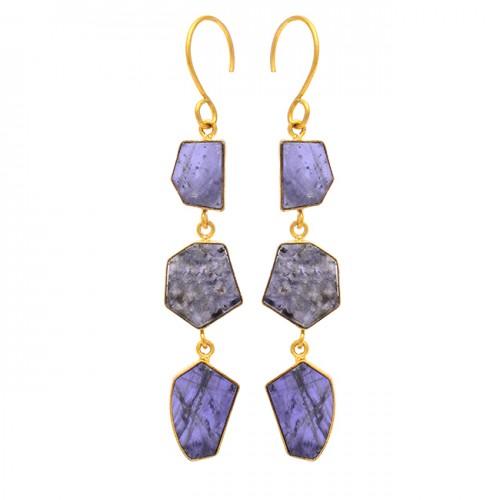 Slice Shape Iolite Gemstone 925 Sterling Silver Gold Plated Dangle Earrings