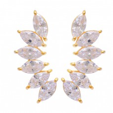 Marquise Shape Crystal Quartz Gemstone 925 Silver Gold Plated Stud Earrings