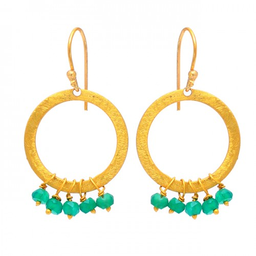Roundel Beads Shape Green Onyx Gemstone 925 Silver Gold Plated Earrings