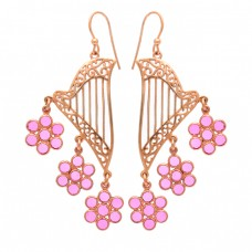 Round Shape Pink Quartz Gemstone 925 Sterlings Silver Gold Plated Earrings