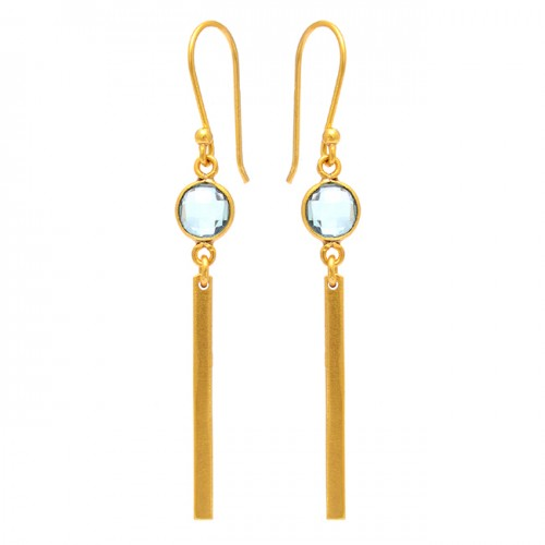 Round Shape Blue Topaz Gemstone 925 Sterling Silver Gold Plated Earrings