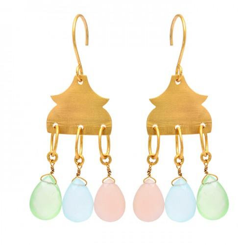 Pear Drops Shape Chalcedony Gemstone 925 Sterling Silver Gold Plated Earrings
