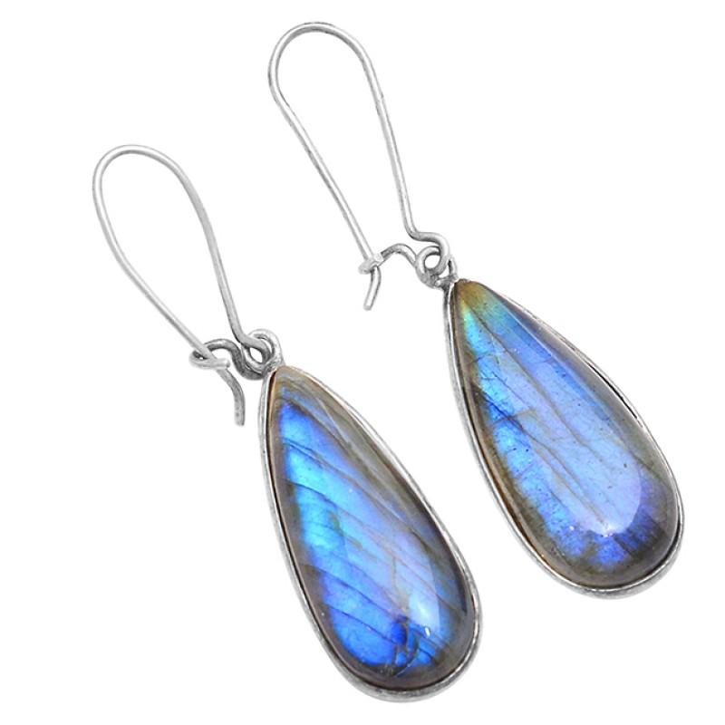 Pear Shape Labradorite Gemstone 925 Sterling Silver Bezel Setting Earrings