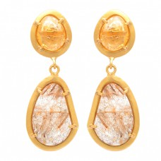 Citrine Golden Rutile Quartz Gemstone 925 Sterling Silver Gold Plated Earrings