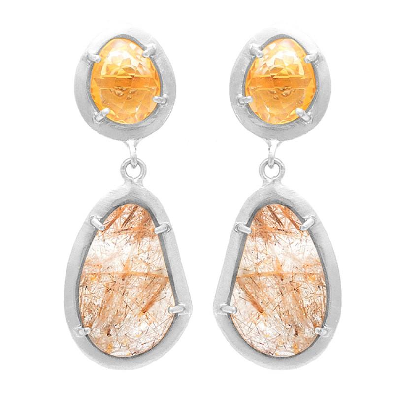 Citrine Golden Rutile Quartz Gemstone 925 Sterling Silver Gold Plated Earrings